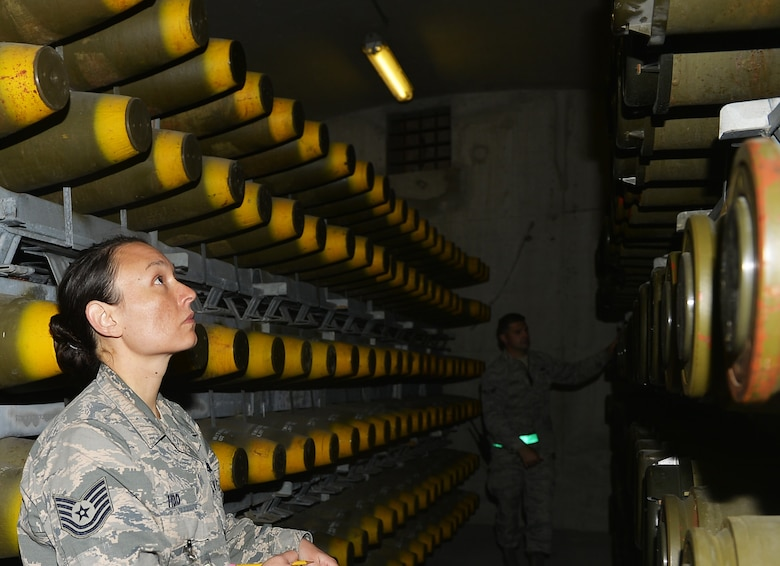 U.S. Air Force Tech. Sgt. Randa Head, 86th Munition Squadron noncommissioned officer in charge of munitions operations, conducts an inventory of munitions at Ramstein Air Base, Germany, Sept. 19, 2017. The 86th MUNS provides support throughout the U.S. Air Forces in Europe and Air Forces Africa area of responsibility. (U.S. Air Force photo by Airman 1st Class Joshua Magbanua)