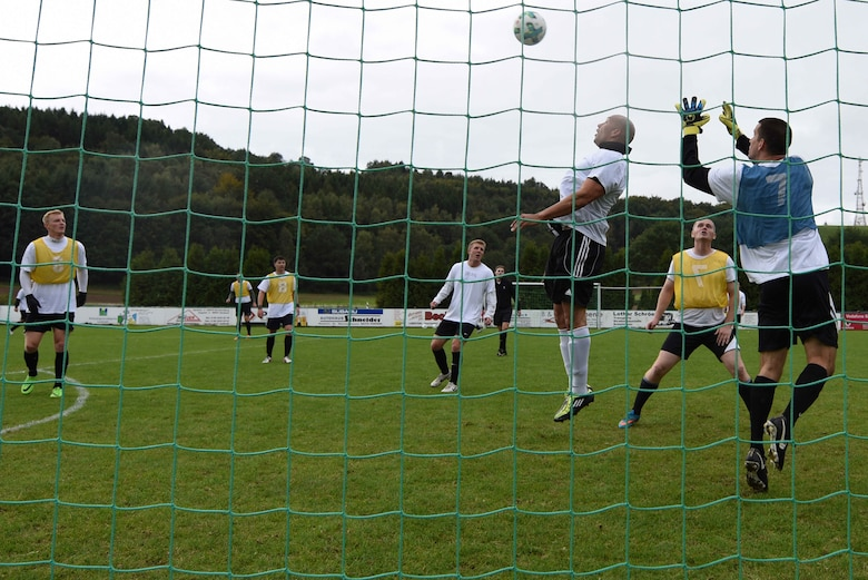 USAFE soccer team practices for AIRCOM Championship
