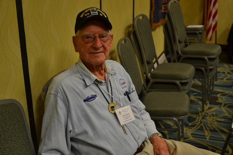 Burt Marsh, a World War II Veteran assigned to Company M, 319th Infantry Regiment, 80th Infantry Division, was one of five WWII Veterans that attended the 80th Training Command (TASS) and the 80th Division Veterans Association centennial anniversary dinner in Richmond, Va., September 16, 2017. He was drafted into the Amy in 1944. (U.S. Army photo by Sgt. 1st Class Emily D. Anderson, 80th Training Command)