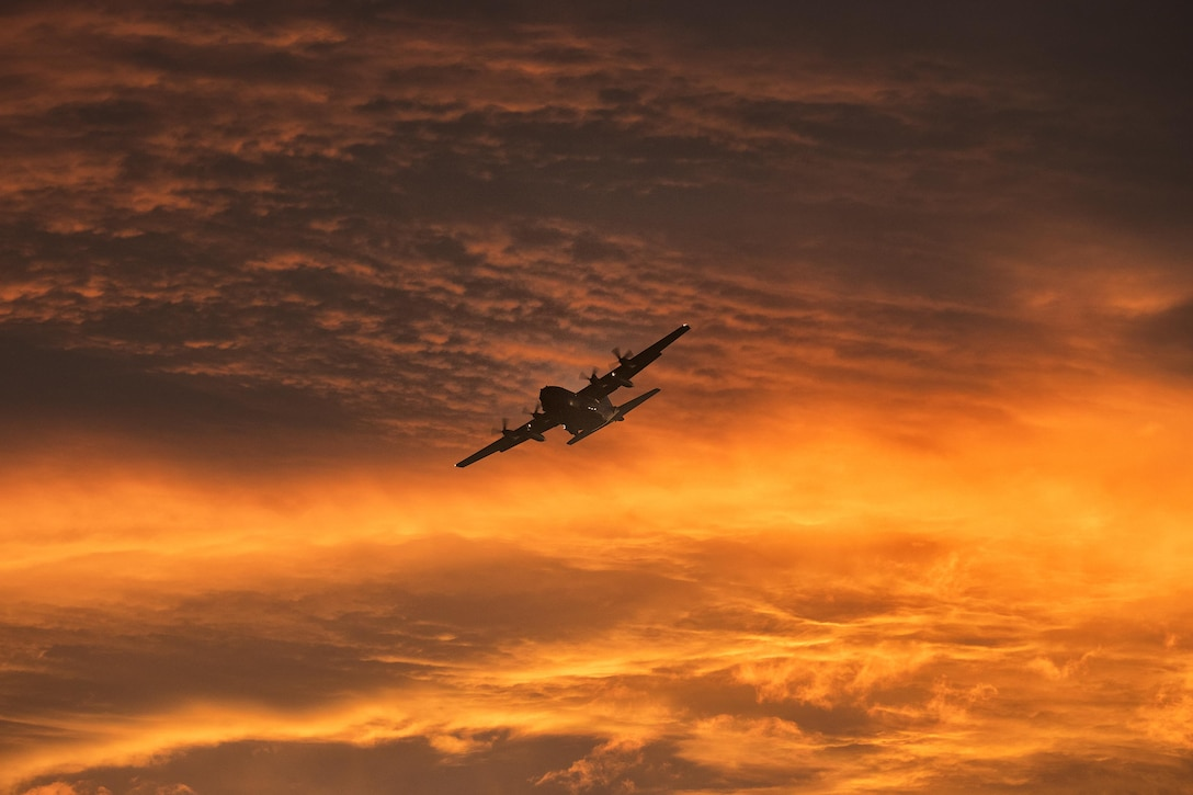 A C-130 Hercules assigned to the 36th Airlift Squadron flies over Yokota Air Base, Japan, during a routine sortie Sept. 12, 2017. The 36th AS regularly conducts training missions to remain proficient in the necessary skills to support any contingency. (U.S. Air Force photo by Yasuo Osakabe)