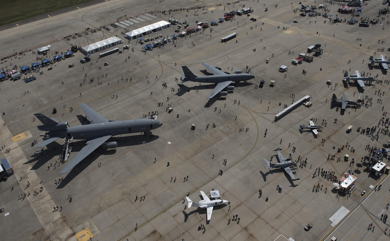 An aerial view of the flight line at the 2017 Andrews Air Show: Air and Space Expo at Joint Base Andrews, Md., Sept. 15, 2017. The three-day event displayed the Air Force's capabilities through air power with demonstrations by the Thunderbirds, Army Golden Knights and the Air Force F-22 Demonstration Team. (U.S. Air Force photo by Airman 1st Class Emma James)