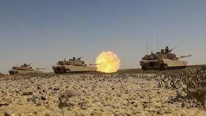 M1A2 Abrams Main Battle Tank crews assigned to Charlie Company, 2nd Battalion, 7th Cavalry Regiment, 3rd Armored Brigade Combat Team, 1st Cavalry Division engage targets at the conclusion of the culminating joint live-fire exercise of Exercise Bright Star 2017 at Mohamed Naguib Military Base, Egypt, Sept. 20, 2017. Bright Star is a bilateral exercise between U.S. Central Command and the Arab Republic of Egypt during which about 200 U.S. personnel participated in a command-post exercise, a field training exercise and a senior leader seminar to promote and enhance regional security and cooperation. Army photo by Staff Sgt. Leah R. Kilpatrick