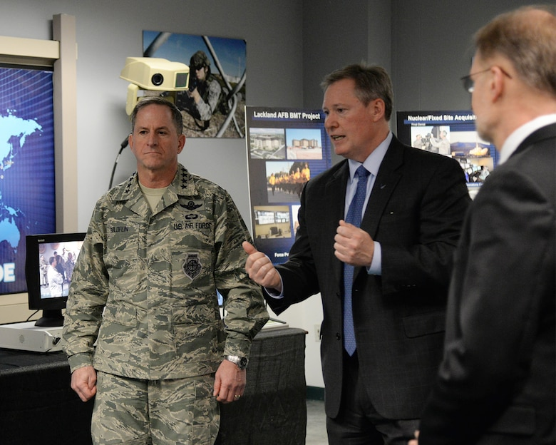 Pat Dagle, Force Protection Division chief, briefs Air Force Chief of Staff Gen. David L. Goldfein