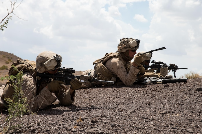 U.S. Marines with Apache Company, 3rd Light Armored Reconnaissance Battalion, Marine Air-Ground Task Force-8 (MAGTF), set up an observation point in support of the final exercise during Integrated Training Exercise 5-17 (ITX), on Marine Corps Air Ground Combat Center Twentynine Palms, Calif., Aug. 4, 2017. The purpose of ITX is to create a challenging, realistic training environment that produces combat-ready forces capable of operating as an integrated MAGTF. (U.S. Marine Corps photo by Cpl. Christopher A. Mendoza)