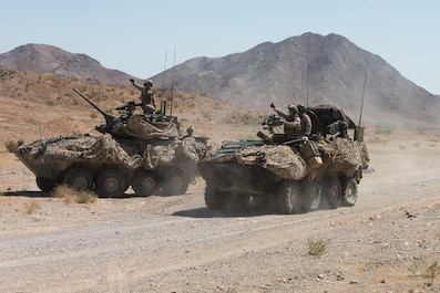 U.S. Marines with Apache Company, 3rd Light Armored Reconnaissance Battalion, Marine Air-Ground Task Force-8 (MAGTF), maneuver to their attack position in support of the final exercise during Integrated Training Exercise 5-17 (ITX), on Marine Corps Air Ground Combat Center Twentynine Palms, Calif., Aug. 4, 2017. The purpose of ITX is to create a challenging, realistic training environment that produces combat-ready forces capable of operating as an integrated MAGTF. (U.S. Marine Corps photo by Cpl. Christopher A. Mendoza)