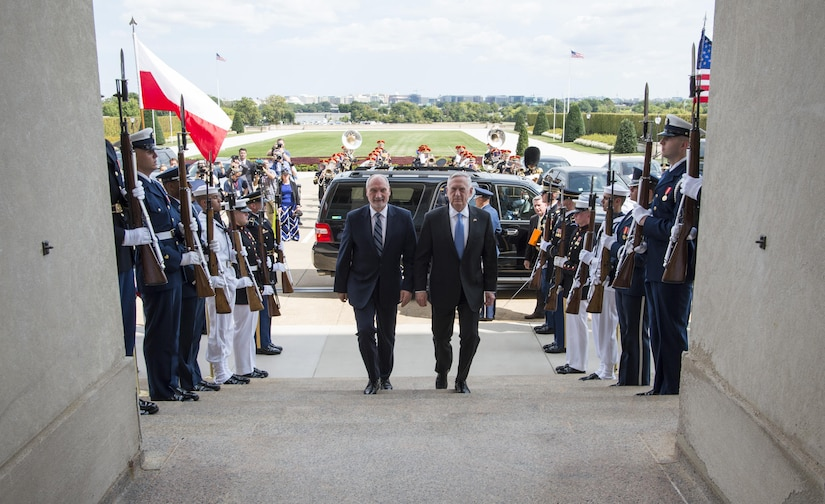 Defense Secretary Jim Mattis hosts an enhanced honor cordon for Polish Defense Minister Antoni Macierewicz at the Pentagon.
