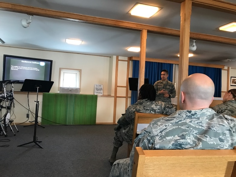 "Staff Sgt. Gabriel Melocoton, 821st Security Forces Squadron, performs a ""teach-back"" session while being evaluated to become certified as squadron-level Resilience Training Assistant during a workshop Sept. 5-7, 2017 at Thule Air Base, Greenland. Having trained assistants in remote locations is an efficient way of staying up to date on required training, said Master Sgt. April Ashjian, 21st Medical Group Physical Therapy flight superintendent, one of the master trainers for the sessions. (Courtesy photo)"