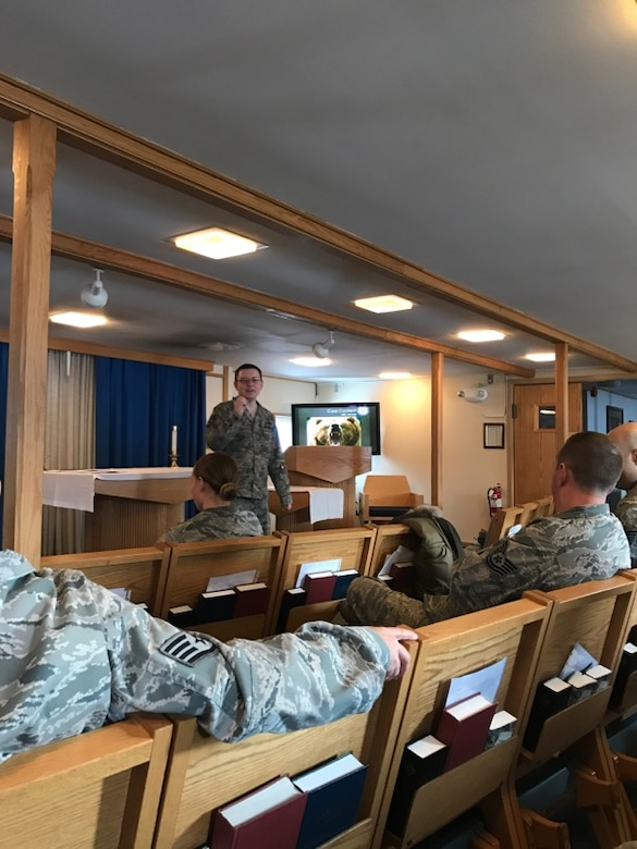 Tech Sgt. Anthony Thomas, 12th Space Warning Squadron, is evaluated during a teach-back portion of the Resilience Training Assistant Workshop Sept. 5-7, 2017 at Thule Air Base, Greenland. Thomas and others were certified as assistant resilience trainers during the workshop in order to provide updated annual training required for all Airman.