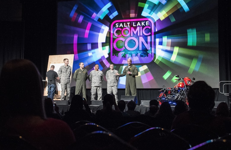 Lt. Col. Mathew Miller, 419th Operations Support Flight commander, gives introductory remarks during a press conference at Salt Lake Comic Con