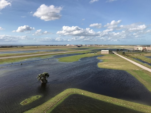 After Hurricane Irma passed over Central Florida in the early morning hours of Sept. 11, 2017, Patrick Air Force Base took on water from the heavy rain and sustained minimal damage. After several days it was operational again. (U.S. Air Force photo/1st Lt. Stephen Collier)