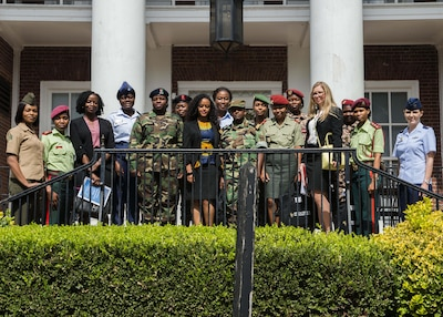 Participants in U.S. Africa Command's Women, Peace and Security forum for female military leaders from seven African nations pose for a photo at National Defense University in Washington, , Sept. 19, 2017. DoD photo by Marine Corps Staff Sgt. Ben Flores