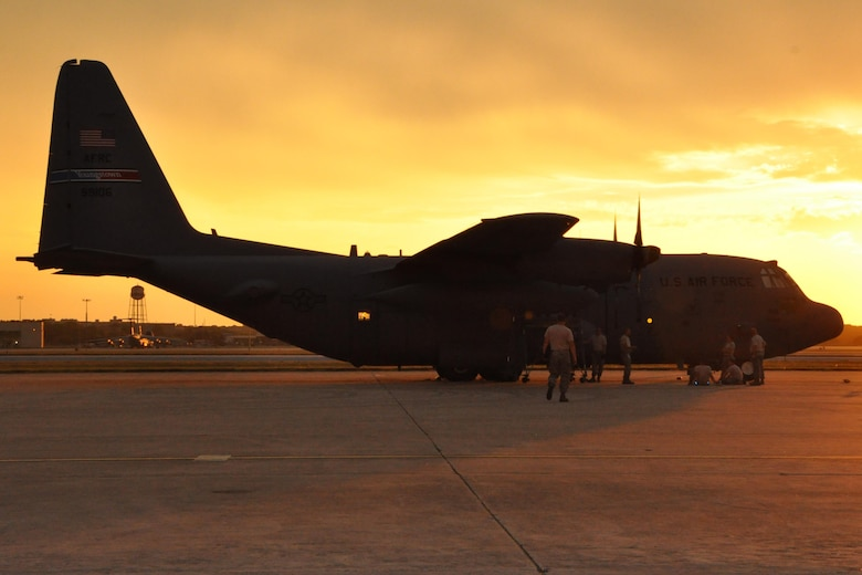 After launch at Kelly Field: activity continues at the 910th's aerial spray ops base