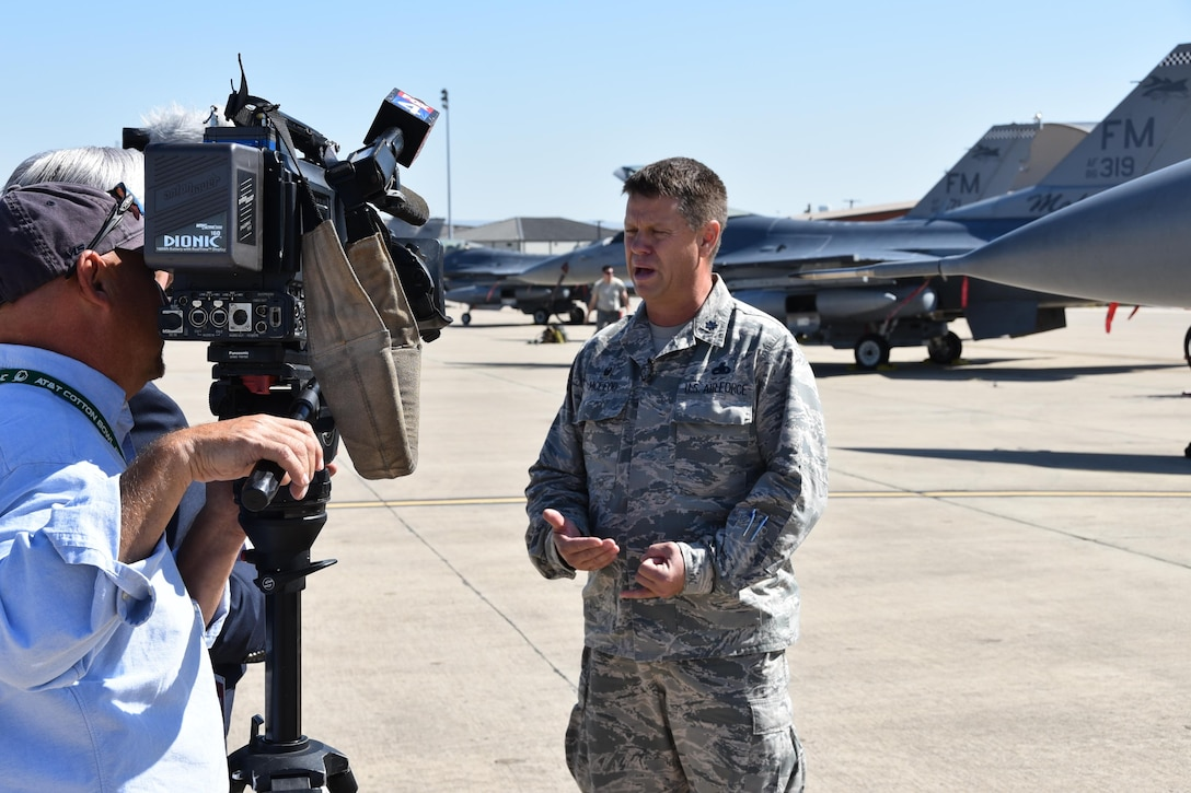 Lt. Col. William McLeod speaks with members of the media about relocating to Naval Air Station Fort Worth Joint Reserve Base, Texas in order to keep aircraft safe ahead of Hurricane Irma.
