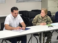 BG Diana Holland, Commander of the U.S. Army Corps of Engineers South Atlantic Division, meets with Governor Ricardo A. Rosselló-Nevares to discuss the support needed for hurricane recovery in the Puerto Rico.