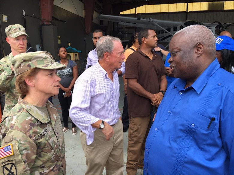 BG Diana Holland, Commander of the U.S. Army Corps of Engineers South Atlantic Division, meets with Governor Kenneth Mapp to survey damage and discuss needed support for hurricane recovery in the U.S. Virgin Islands.
