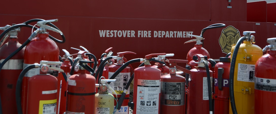 Fire exstinguishers around  Westover Fire Department logo