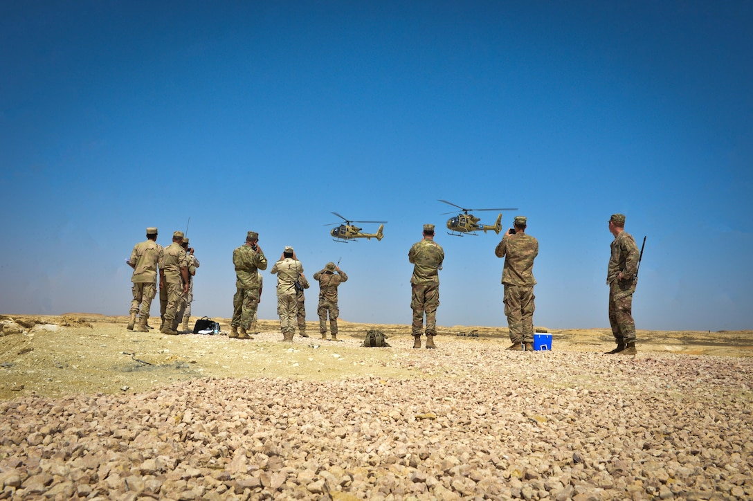 Two Egyptian Aérospatiale Gazelle helicopters participate in a combined arms live fire exercise during Bright Star 2017, Sept. 20, 2017, at Mohamed Naguib Military Base, Egypt. More than 200 U.S. service members are participating alongside the Egyptian armed forces for the bilateral U.S. Central Command Exercise Bright Star 2017, Sept. 10 – 20, 2017. (U.S. Air Force photo by Staff Sgt. Michael Battles)