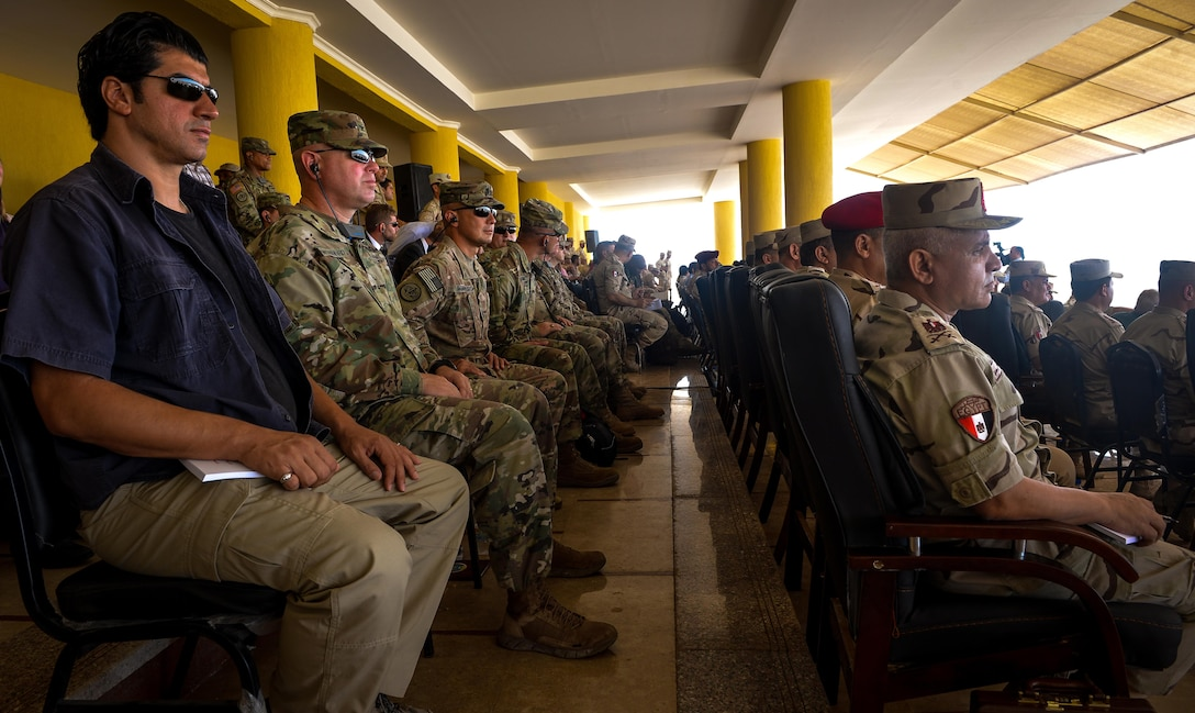 U.S. and Egyptian senior leaders watch a combined arms live fire exercise demonstration during Bright Star 2017, Sept. 20, 2017, at Mohamed Naguib Military Base, Egypt. Bright Star 2017 centralizes around regional security and cooperation, and promoting interoperability in conventional and irregular warfare scenarios. (U.S. Air Force photo by Staff Sgt. Michael Battles)