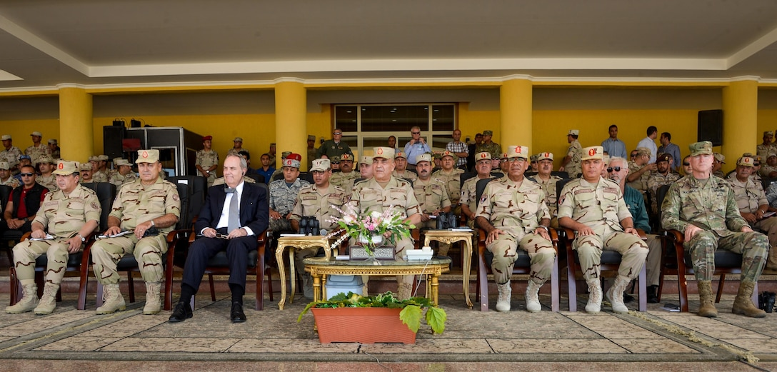 Thomas Goldberger, The U.S. Embassy's Charge d' Affaires to Egypt, along with U.S. and Egyptian senior leaders watch a combined arms live fire exercise demonstration during Bright Star 2017, Sept. 20, 2017, at Mohamed Naguib Military Base, Egypt. Bright Star is a combined command-post and field training exercise aimed at enhancing regional security and stability by responding to modern-day security scenarios with the Arab Republic of Egypt. (U.S. Air Force photo by Staff Sgt. Michael Battles)