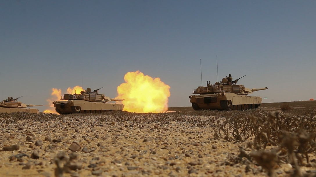 M1A2 Abrams Main Battle Tank crews assigned to Charlie Company, 2nd Battalion, 7th Cavalry Regiment, 3rd Armored Brigade Combat Team, 1st Cavalry Division engage targets at the conclusion of the culminating joint live-fire exercise of Exercise Bright Star 2017 at Mohamed Naguib Military Base, Egypt, Sept. 20. Bright Star is a bilateral exercise between U.S. Central Command and the Arab Republic of Egypt during which about 200 U.S. personnel participated in a command-post exercise, a field training exercise and a senior leader seminar to promote and enhance regional security and cooperation. (U.S. Army photo by Staff Sgt. Leah R. Kilpatrick)
