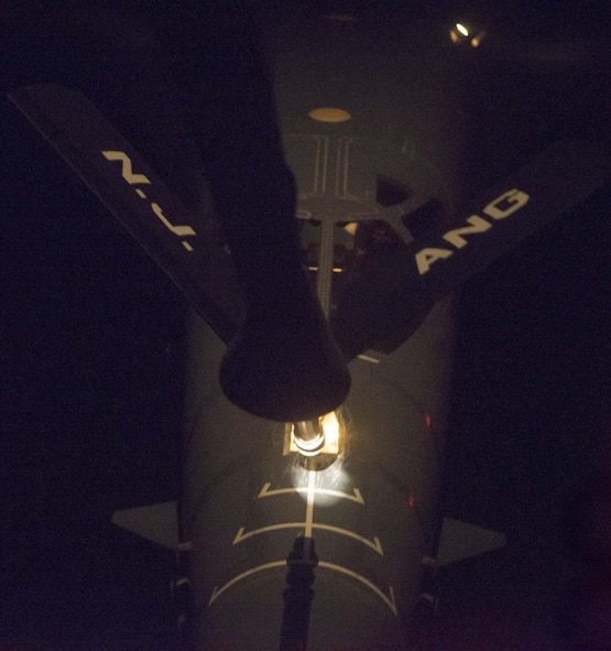 A U.S. Air Force B-1B Lancer, assigned to the 37th Expeditionary Bomb Squadron, deployed from Ellsworth Air Force Base, South Dakota, receives fuel from a U.S. Air Force KC-135 Stratotanker Sep. 23, 2017. This mission was flown as part of the continuing demonstration of the ironclad U.S. commitment to the defense of its homeland and in support of its allies and partners. (U.S. Air Force photo by Tech. Sgt. Richard P. Ebensberger/Released)
