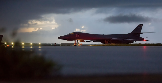 A U.S. Air Force B-1B Lancer, assigned to the 37th Expeditionary Bomb Squadron, deployed from Ellsworth Air Force Base, South Dakota, prepares to take off from Andersen AFB, Guam, Sept. 23, 2017. This mission was flown as part of the continuing demonstration of the ironclad U.S. commitment to the defense of its homeland and in support of its partners and allies.