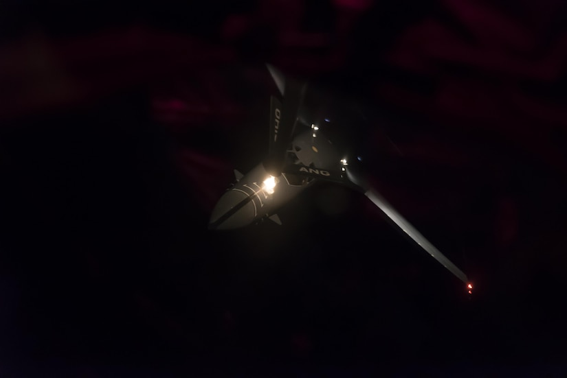 A U.S. Air Force B-1B Lancer, assigned to the 37th Expeditionary Bomb Squadron, deployed from Ellsworth Air Force Base, South Dakota, receives fuel from a U.S. Air Force KC-135 Stratotanker Sep. 23, 2017. This mission was flown as part of the continuing demonstration of the ironclad U.S. commitment to the defense of its homeland and in support of its allies and partners.