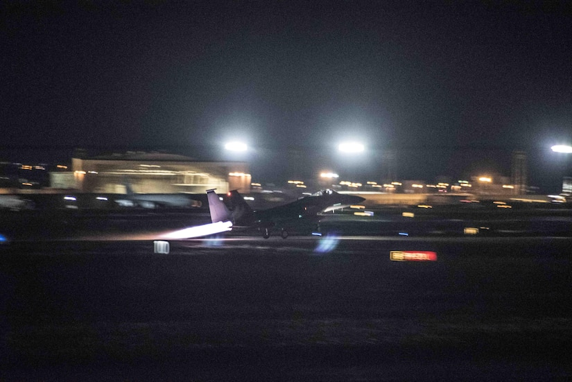 A U.S. Air Force F-15C Eagle takes off from the Kadena runway Sept. 23, 2017, at Kadena Air Base, Japan. Kadena-based F-15s escorted U.S. Air Force B-1B Lancer bombers executing a mission east of North Korea, flown to demonstrate the ironclad U.S. commitment to the defense of its homeland and in support of its partners and allies.