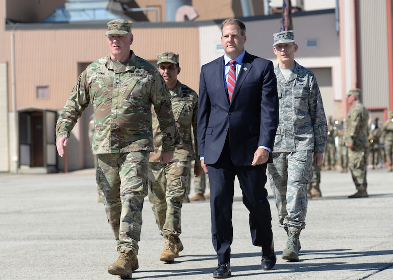 Gov. Christopher T. Sununu, Maj. Gen. William N. Reddel, Brig. Gen. David J. Mikolaities, Col. Bill Conway preform an inspection of the troops at Pease Air National Guard Base, Sept. 23, 2017. Brig. Gen. David Mikolaities assumes duties as the Adjutant General, New Hampshire National Guard from Maj. Gen. William Reddel. (N.H. National Guard photo by Senior Airman Ashlyn J. Correia)