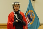 American Historical Theatre actress Marjorie Goldman portrays a mid-19th century Susan B. Anthony during a Women's Equality Day event September 22, 2017 at DLA Troop Support in Philadelphia. Goldman educated the audience on Anthony's life as a human rights activist and challenged employees to continue fighting for the equal rights of all people.