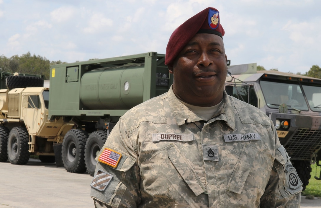 Army Staff Sgt. Vincent Dupree lost his home in Florida to Hurricane Andrew in 1992.
