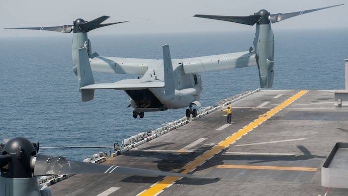 An MV-22 Osprey assigned to Marine Medium Tiltrotor Squadron 161 lifts off from the flight deck of the amphibious assault ship USS America in support of Alligator Dagger 2017.