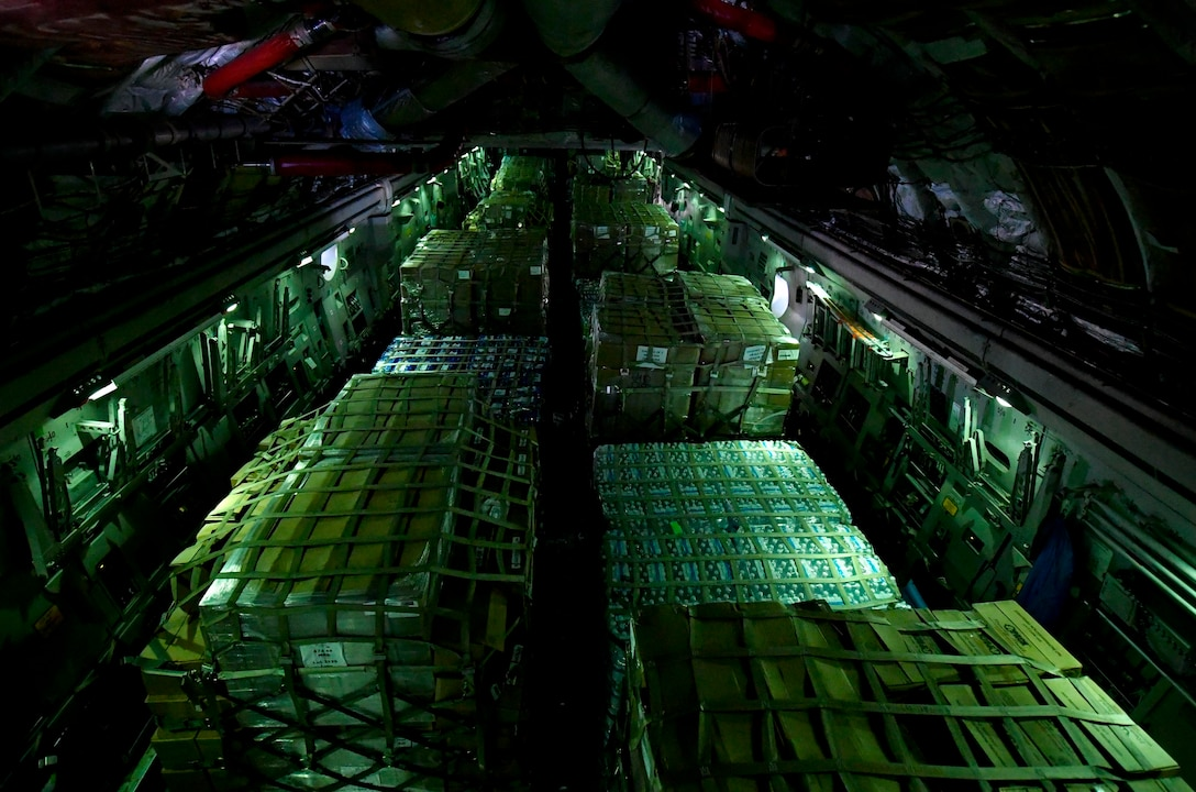 Cargo is flown to St. Croix, Virgin Islands from Kelly Field in San Antonio, Texas, Sept. 24, 2017. Members of the 14th Airlift Squadron, 437th Airlift Wing, delivered more than 129,000 pounds of food and water to St. Croix, Virgin Islands in support of relief efforts after Hurricane Maria. The mission to St. Croix marked the second mission the crew flew to the Virgin Islands for humanitarian aid in 48 hours.