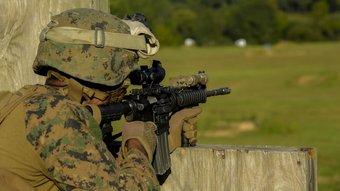 A Marine with 2nd Light Armored Reconnaissance Battalion aims at targets down range during a deployment for training exercise at Fort Pickett, V.A., Sept. 17, 2017.