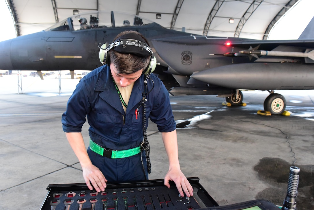 Airman 1st Class Timothy Webster, 4th Aircraft Maintenance Squadron crew chief, ensures all maintenance tools are accounted for during exercise Razor Talon, Sept. 21, 2017, at Seymour Johnson Air Force Base, North Carolina.