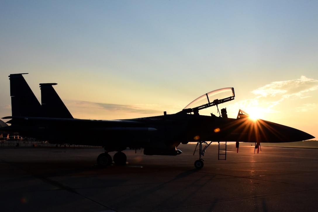 An F-15E Strike Eagle sits on the flightline, Sept. 21, 2017, at Seymour Johnson Air Force Base, North Carolina.
