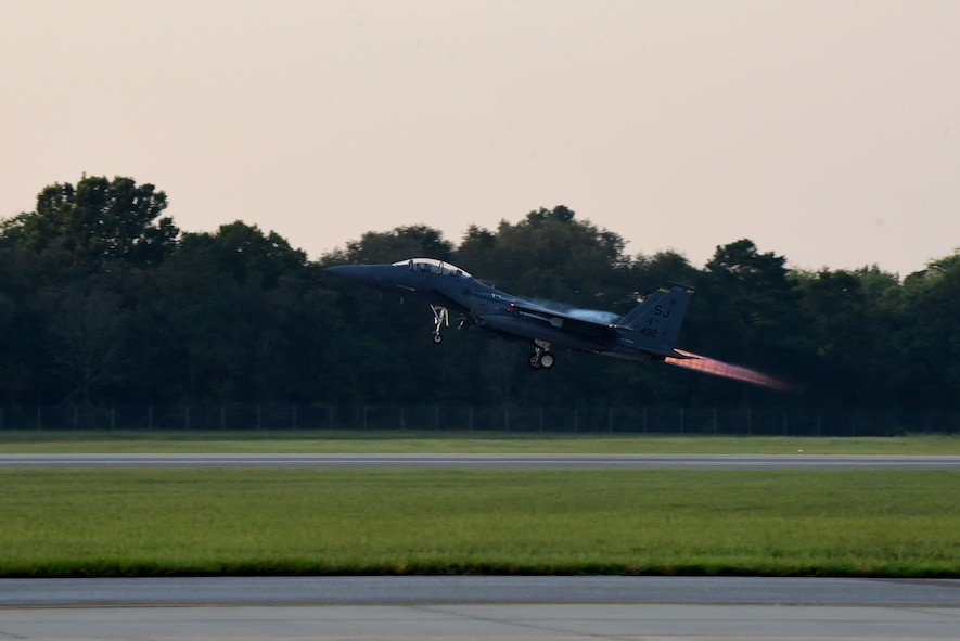 An F-15E Strike Eagle of the 336th Fighter Squadron, takes off during exercise Razor Talon, Sept. 21, 2017, at Seymour Johnson Air Force Base, North Carolina.