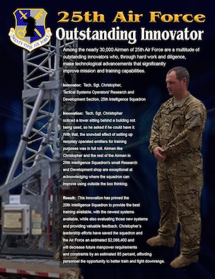 Graphic:  Tech. Sgt. Christopher, a member of the Tactical Systems Operators' Research and Development section, 25th Intelligence Squadron, is one of 25th Air Force's Outstanding Innovators.