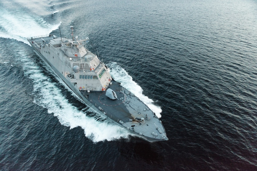 The future USS Little Rock (LCS 9) underway during a high-speed run in Lake Michigan during Acceptance Trials. Lockheed Martin and Fincantieri Marinette Marine successfully completed acceptance trials on the future USS Little Rock (LCS 9), Aug. 25.