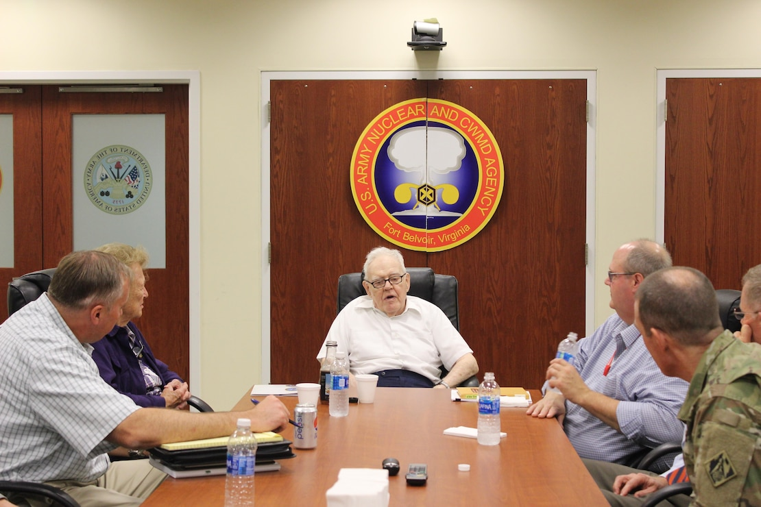 Retired Lt. Gen. Ernest Graves and his wife Nancy Graves discuss his past experiences with the military's application of nuclear power, including his role in the completion and initial operation of the first-of-its-kind SM-1 nuclear reactor at Fort Belvoir, with personnel from the Defense Threat Reduction Agency and the U.S. Army Corps of Engineers at the US Army Nuclear and Countering Weapons of Mass Destruction Agency headquarters on Fort Belvoir, Tuesday September 19, 2017. In addition to providing nuclear and countering weapons of mass destruction expertise, USANCA is home to the Army Reactor Office, which issues the permits for the Army's one operating and three deactivated nuclear reactors.