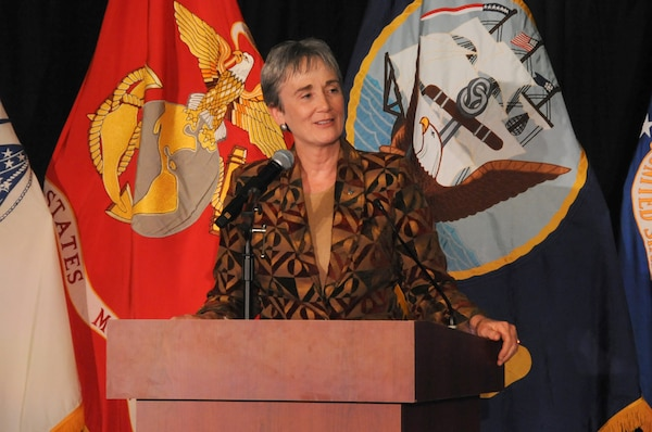 Secretary of the Air Force Heather Wilson speaks during U.S. Strategic Command's Birthday Ball in Bellevue, Neb., Sept. 22, 2017.