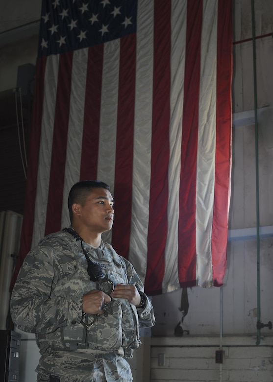 U.S. Air Force 2nd Lt. Robert Parati, 355th Security Forces Squadron flight commander, prepares to brief new 355th SFS Airmen on the procedure to handcuff suspects at Davis-Monthan Air Force Base, Ariz., June 12, 2017. If done properly, the positions the perpetrators are put into limits movement, giving the defender the upper hand in any situation. (U.S. Air Force photo by Senior Airman Ashley N. Steffen)
