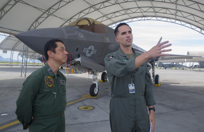 Japan Air Self-Defense Force personnel study the F-35B Lightning II during an educational tour and class led by Marine Fighter Attack Squadron 121 at MCAS Iwakuni, Japan, Sept. 13, 2017. Several classes were conducted for JASDF personnel regarding maintenance, serviceability, operability and more. Afterwards, they briefly toured VMFA-121's facility, taking a peek into different departments and visiting the hangar to see, touch and study the aircraft up close. This is the first time VMFA-121 has conducted an exchange like this.