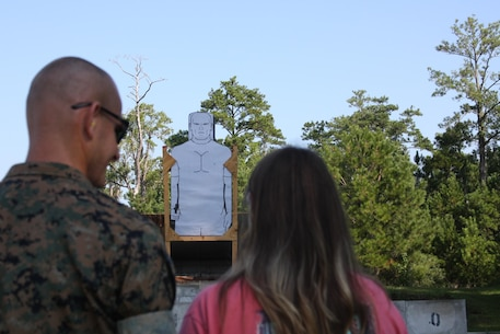 On September 22, 2017 Marine Corps Engineer School hosted a Better Half Day; the first event was a pistol range. Before executing the full course of fire the spouses fired a 'confidence shot' to ensure they felt comfortable handling and firing the M9 pistol.