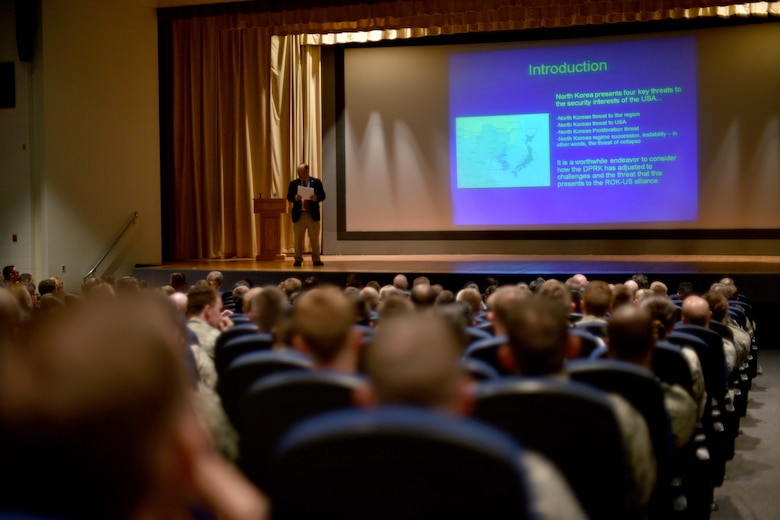 Dr. Bruce Bechtol, Angelo State University political science professor, gives a presentation in the Base Theater on Goodfellow Air Force Base, Texas, Sept. 22, 2017. Bechtol discussed national security issues that the intelligence community faces now and in the future. (U.S. Air Force photo by Airman 1st Class Randall Moose/Released)