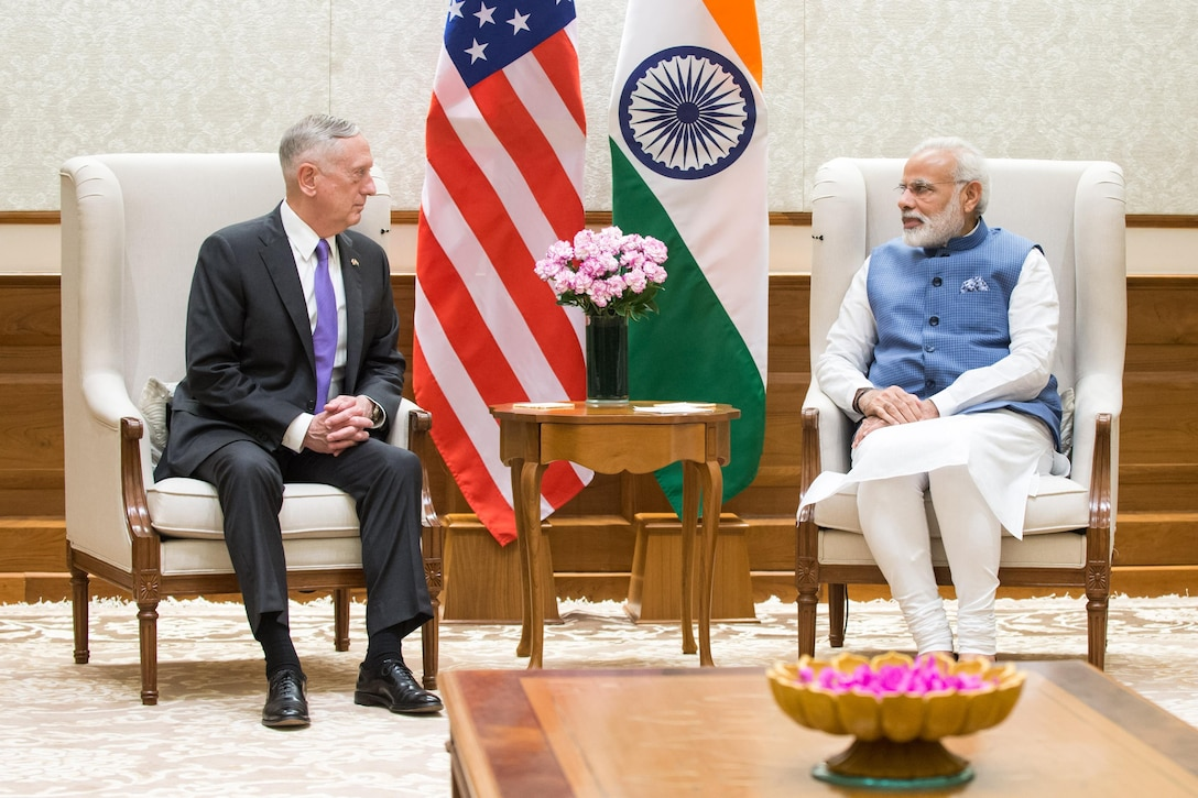 Defense Secretary Jim Mattis meets Indian leader in New Delhi.