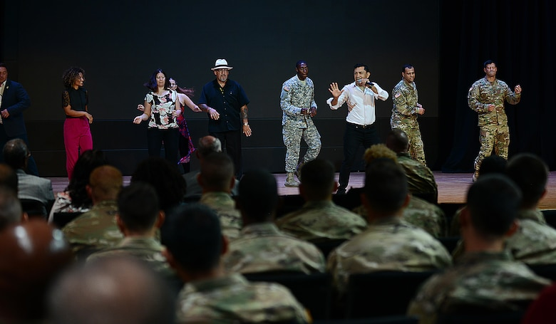 U.S. Army Soldiers gather to celebrate National Hispanic Heritage Month at Joint Base Langley-Eustis, Va., Sept. 22, 2017.