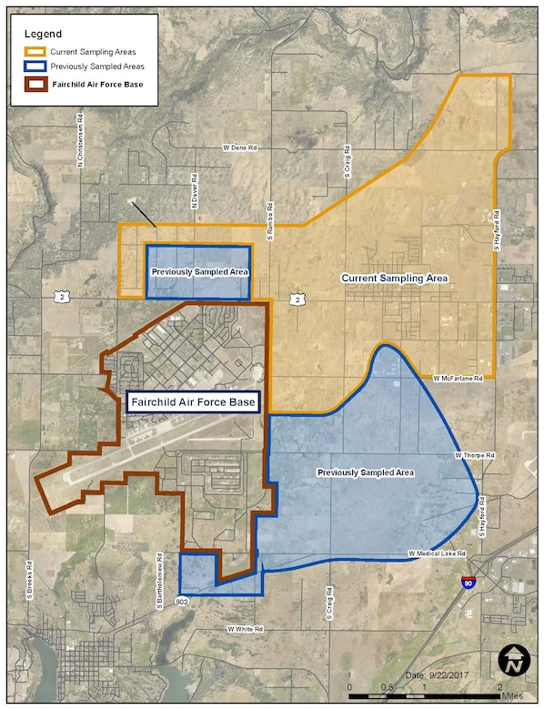 AFCEC released a map of past and current testing areas. Residents in the current sampling areas who have not been contacted for water sampling are asked to call the 92nd Air Refueling Wing Public Affairs Office at 509-247-5705 or 92arw.pa@us.af.mil.