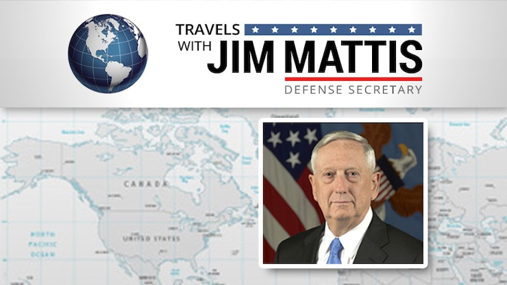 "This graphic includes a headshot of Defense Secretary Jim Mattis below text reading ""Travels With Jim Mattis"""