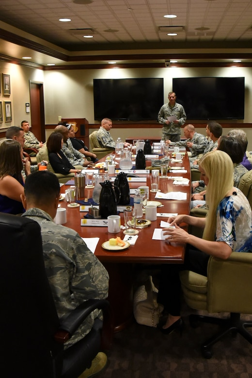 U.S. Air Force Col. Jeffrey Sorrell, 17th Training Wing vice commander, briefs the senior leader's immersion tour in the Wing Conference room in the Norma Brown building at Goodfellow Air Force Base, Texas, Sept. 25, 2017. The immersion tour visited several locations within Goodfellow and provided information about the wing's mission. (U.S. Air Force photo by Airman Zachary Chapman)